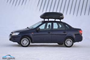 """Бокс-багажник на крышу 360 литров Аэродинамический Черный """"Turino Compact"""" 142х83х45 см. Открытие с одной стороны"""
