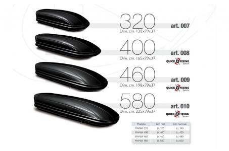 Автомобильный бокс Menabo Mania 400 (165х79х37) 400 L (Черный глянец)